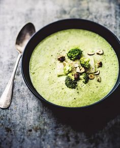 Skinny Cream of Broccoli Soup with Oats Milk, Hazelnut Oil and Toasted Hazelnuts (grain-free, dairy-free, potato-free) (recipes with broccoli soup cream) Veggie Recipes, Soup Recipes, Vegetarian Recipes, Cooking Recipes, Healthy Recipes, Broccoli Recipes, Free Recipes, Cream Of Broccoli Soup, Food Porn