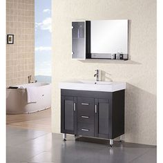 @Overstock - Design Element Contemporary Italian  Bathroom Vanity Set - Transform your bathroom into an oasis with a new vanity setCabinet is made of rich espresso-colored wood with a lovely porcelain countertopBathroom furniture is a complete way to add contemporary flair to any home    http://www.overstock.com/Home-Garden/Design-Element-Contemporary-Italian-Bathroom-Vanity-Set/3929890/product.html?CID=214117  $877.79
