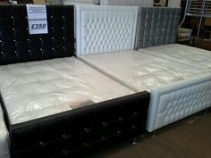 £350 BRAND NEW SAVORSKI DIAMANTE DOUBLE BEDS WITH THICK ORTHOPAEDIC MATTRESS
