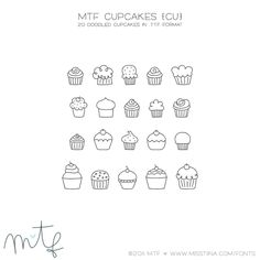 20 Doodled Cupcakes Dingbat by SugarHillCo/MissTiina $5.00