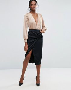 Lavish Alice Pencil Skirt With Knot Detail - Black