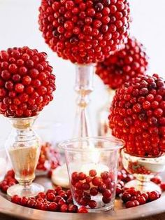 red and silver Christmas centerpiece by Decoholic