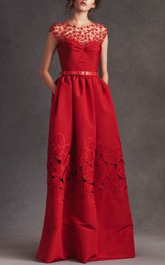 Illusion Neck Floral Threadwork Embroidered Gown by OSCAR DE LA RENTA Now Available on Moda Operandi