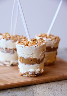 PB Brittle Ice Cream Pops--use this method to make my own DQ buster bars, with more fudge and nuts than they give you these days.  Use a spoon for a stick.