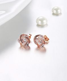 92eef2ce9 Golden NYC 18k Rose Gold-Plated Stud Earrings With Swarovski® Crystals |  zulily 18k