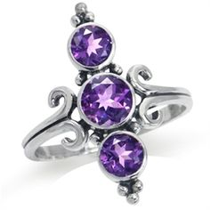 1.79ct. 3-Stone Natural African Amethyst 925 Sterling Silver Ring RN0076930 SilverShake.com