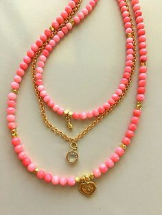 Genuine Natural Angel Skin/Salmon Coral Multistrand Layered Necklace With Gold Vermeil Lotus Heart by MagicalUniverse on Etsy