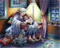 """""""You may have tangible wealth untold; caskets of jewels and coffers of gold. I had a mother who read to me."""" Strickland Gillian Illustration by Sylvie Daigneault Big Comfy Chair, Dream Pictures, Grandma And Grandpa, I Love Books, Illustrations, Cute Illustration, Beautiful Paintings, Grandparents, Book Art"""