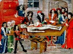 A French manuscript illumination from Guy de Chauliac's 'Chirurgia Magna' of 1363, showing a dissection at the Faculty of Montpellier