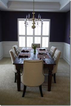 Martha Stewart Eggplant walls in dining room. love it.