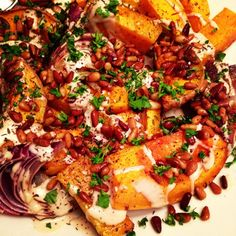 Roasted butternut squash and red onion with tahini and za'atar from Amateur Gourmet by Yotam Ottolenghi
