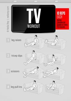 Turn your TV viewing time into your workout time by using the commercials to take exercise breaks. (No more couch potato time for you, I fea...