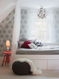 Bedroom: Subtle And Comfortable Also Easy. girl room decor. neutral loft bedroom. white and gray bedding. gray crochet ottoman. pink round nightstand. metal lamp base. under bed storage. pink throw pillow.