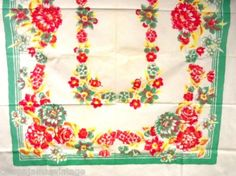 Vintage Kitchen Tablecloth 1940s