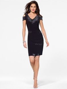 8fe249dde4fc [ Sheath/Column Off-the-Shoulder Knee-Length Jersey Cocktail Dress With  Beading Sequins