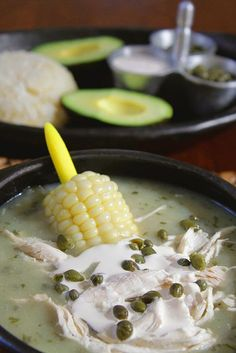 Ajiaco Santafereno---Colombian Chicken and Potato Soup, delicious Colombian Dishes, My Colombian Recipes, Colombian Food, Mexican Food Recipes, New Recipes, Cooking Recipes, Favorite Recipes, Healthy Recipes, What's Cooking