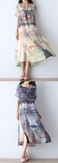 US$23.71 Gracila Scenery Printed Double Layer Short Sleeve Women Dresses