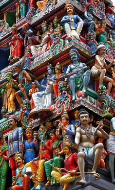 : Detailed view of the gopuram (tower) at the entrance of the Sri Mariamman Temple, Singapore. Singapore Architecture, Indian Temple Architecture, Sacred Architecture, Singapore Island, Singapore Travel, Singapore Tour, Temple India, Hindu Temple, Singapore National Day