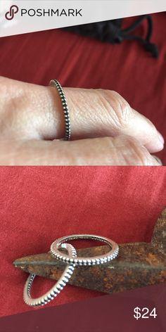 Silpada Ring- Size 7 Silpada Perfection Stacking Rings - Black CZ, -Size 7 Silpada Jewelry Rings