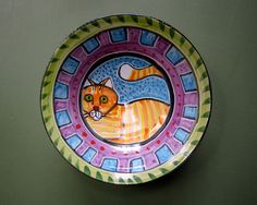 Orange Cat Ceramic Bowl Shallow Clay by ClayLickCreekPottery, $65.00