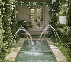 My very favorite pool. Can do laps in it but looks like a large fountain. The landscape around it is beautiful too, adding to the fountain versus pool feel. Landscape Architecture, Landscape Design, Garden Design, Outdoor Rooms, Outdoor Gardens, Backyard Water Feature, Garden Fountains, Pool Fountain, Water Fountains