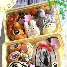 My Neighbor Totoro Kikis Delivery Service Studio Ghibli bento boxed lunch; - Delivery Food - Ideas of Delivery Food - My Neighbor Totoro Kikis Delivery Service Studio Ghibli bento boxed lunch; Anime Bento, Japanese Food Art, Japanese Lunch Box, Japanese Meals, Kawaii Bento, Cute Bento Boxes, Bento Box Lunch, Bento Food, Cute Food