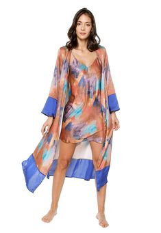 Belted long-sleeved kimono arriving in a forest print. This kimono features a tie closure at the waist, long sleeves and cut below the knee. Model is shown in a size S Long Sleeve Kimono, Cover Up, Sleeves, Model, Inspiration, Collection, Dresses, Fashion, Biblical Inspiration