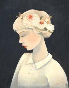 English Rose Print, emily winfield martin, painting, print, beautiful woman, rose garland, colour