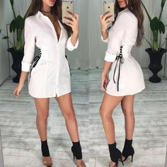 - Shop Mini Dresses Fashion Side Lace-up Mini Shirtdress Mode Outfits, Dress Outfits, Casual Dresses, Short Dresses, Fashion Dresses, Mini Dresses, Trendy Fashion, Girl Fashion, Womens Fashion