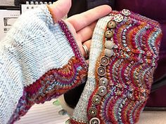 Free Knitting Pattern for Spatterdash Wristwarmers - Designed by Dagmar Mora, these fingerless mitts are knit flat and wrapped around the hand to imitate spats. The feather and fan lace gives a lovely texture that showcases variegated yarn well, yet also Fingerless Gloves Knitted, Crochet Gloves, Knit Mittens, Knitted Hats, Mittens Pattern, Knitting Stitches, Knitting Patterns Free, Knitting Yarn, Free Knitting