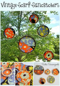Creating DIY simple suncatchers with repurposed vintage scarf and embroidery hoops / www.sadieseasongoods.com