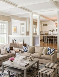 Love open floor plan, gray and beige colors and centered family room furniture. Instead of entering into kitchen or family room, they created a half wall entry against which a console faces the family room. Love the comfortable family room furniture, cof Beige Living Rooms, Home Living Room, Living Room Designs, Living Spaces, Kitchen Living, Open Kitchen, Living Area, Room Kitchen, Cozy Living