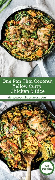 Incredibly flavorful yellow curry chicken and rice made in one pot with plenty of veggies and delicious flavors from coconut milk, ginger, garlic and turmeric! Great for meal prep! #mealprepideas #ChickenRecipes #onepandinner #glutenfreerecipe