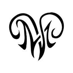 M+V heartigram tattoo