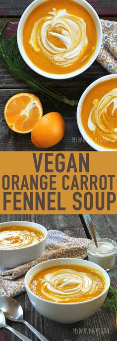 Warm up on this chilly day with a bowl of vegan Orange Carrot Fennel Soup. Click the photo for the full recipe.