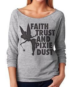 Womens Tinker Bell Faith, Trust and Pixie Dust French Terry 3/4 Sleeve Layering T Shirt. I love to wear these unique Disney quote tees on chilly nights at Disneyland.