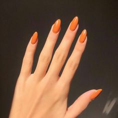 Minimalist Nails, Nail Swag, Hair And Nails, My Nails, Fire Nails, Funky Nails, Orange Nails, Acrylic Nails Orange, Acrylic Nails Autumn