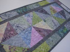 Modern Quilted Table Runner Scrappy Batik Table Mat Pastel