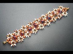 "Bracciale ""Aldebaran"" con le Pyramid, Superduo, O Beads e Perle Swarovsk..."