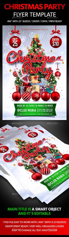 Buy Christmas Party Flyer Template by Flyermania on GraphicRiver. Christmas Party Flyer Template is very modern psd flyer that will give the perfect promotion for your upcoming event . Christmas Poster, Christmas And New Year, Christmas Cards, Christmas Flyer Template, Club Parties, Xmas Party, New Years Party, Party Flyer, Creative