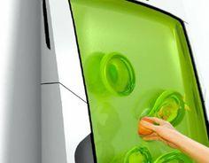 Гелевый био-холодильник. Разработал его русский дизайнер Юрий Дмитриев. Этот холодильник охлаждает продукты специальным гелем. Закрепить его можно на стене, на полу и даже на потолке; вертикально или горизонтально. 90% занимаемого пространства является рабочим объемом. Чтобы охладить продукты нужно просто поместить их в гель. Он не прилипает к рукам и продуктам, и не обладает запахом. Этот холодильник практически не использует электроэнергию, только для питания небольшой панельки управления.