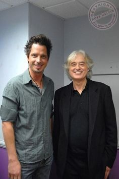 Jimmy Page of Led Zeppelin with Chris Cornell of Soundgarden - 2007 Music Love, Rock Music, Audioslave Chris Cornell, Say Hello To Heaven, Temple Of The Dog, We Will Rock You, Rock And Roll Bands, Jimmy Page, Pearl Jam