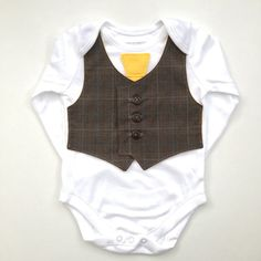 Cute baby clothes, newborn boy clothes, baby boy clothing, green eco conscious, brown and canary yellow, gifts for babies Newborn Boy Clothes, Baby Outfits Newborn, Cute Baby Clothes, Clothes For Sale, Baby Boy Outfits, Vest And Tie, Handmade Baby Clothes, Brown Vest, Yellow Ties
