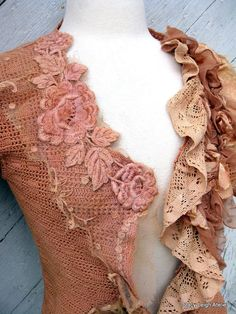 Hand Crocheted Tea Stained Blouse with Antique Silk Lace and Tulle Size Small Fibre And Fabric, Silk Fabric, Beautiful Outfits, Cute Outfits, Boho Fashion, Vintage Fashion, Paisley, Embroidered Roses, Altered Couture