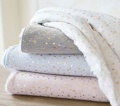 Gold Star Sherpa Baby Blanket #pbkids  in Pink or White with her name or initials on it