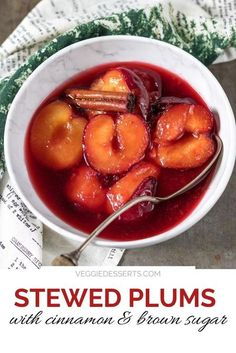 Stewed Plums with cinnamon and brown sugar only take 10 minutes to make with 4 simple ingredients! The plums get beautifully poached and syrupy - perfect served on their own or with ice cream, granola, yogurt and more. Recipes Using Fruit, Fruit Smoothie Recipes, Easy Smoothies, Easy Cake Recipes, Best Dessert Recipes, Vegan Recipes Easy, Vegetarian Recipes, Dinner Recipes, Desserts