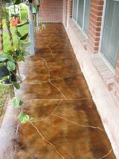 Acid Stained Concrete Floors - Decorative Concrete Overlay Specialist - Architectural Concrete - Acid Stained Exterior Concrete
