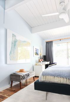 """Style by Emily Henderson - Guest Room Makeover - more modern version of the lighted ceiling fan - Quorum 54"""" Trimark 3 Blade Ceiling Fan at Wayfair -  - curtains should be 3-4"""" closer to the ceiling so the windows and room appeared taller and also wider, making the window feel more open.…"""