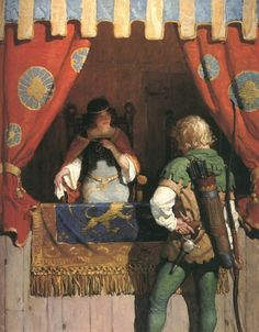 """""""Robin Meets Maid Marian,"""" NC Wyeth illustration from """"Robin Hood,"""" by Paul Creswick Art And Illustration, Book Illustrations, Jamie Wyeth, Andrew Wyeth, Nc Wyeth, Howard Pyle, Frederic Remington, Maid Marian, Traditional Paintings"""