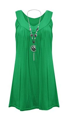 8bf1ee4def1ca2 Womens Plus Size Necklace Ladies Tunic Sleeveless V Neck Tops Plus Size UK